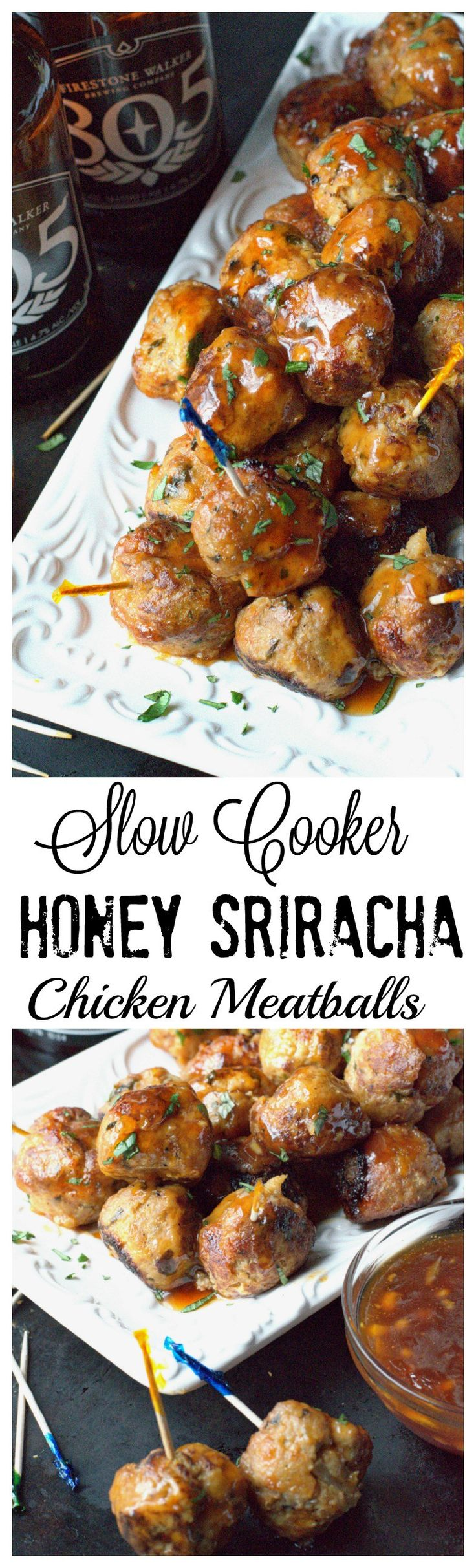 These slow cooker honey sriracha chicken meatballs are a real crowd pleaser. The perfect finger food!