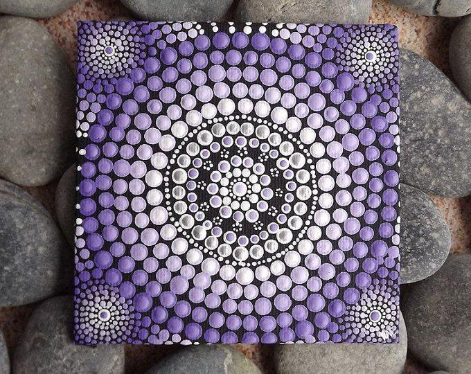 Paarse Aboriginal Dot kunst schilderij, door Biripi kunstenaar Raechel Saunders, Pastel zonsondergang ontwerp, authentiek Australische geschenk, paarse decor