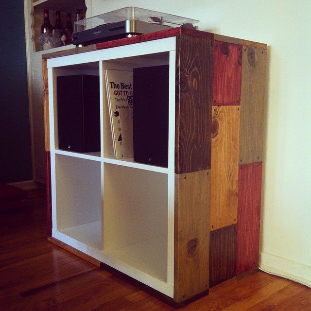 Here 39 s an ikea kallax shelving unit i hacked for my new for Ikea kallax records