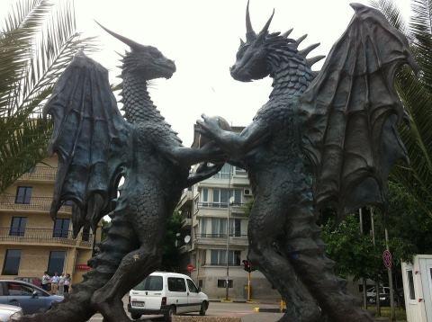 Bronze statue of Dragons in Varna, Bulgaria