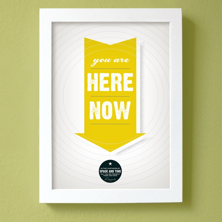 Yellow Print Poster- You Are Here Now Poster - large size - mustard yellow arrow typography wall decor bold sunny color. $35.00, via Etsy.
