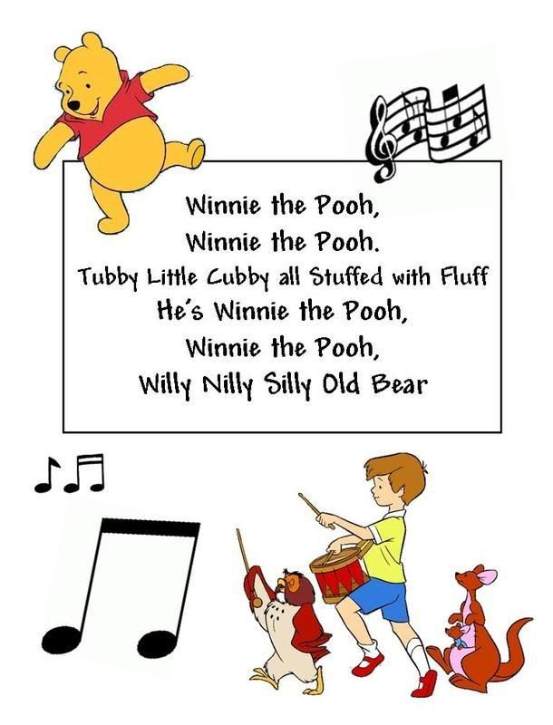 Winnie the Pooh song! Thought this would be cute to sing with the students and than put it in a frame!