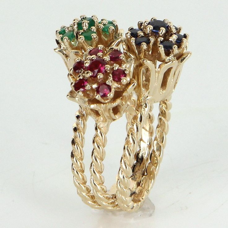 3 Tulip Flower Cluster Ring Vintage 14 Karat Yellow Gold Ruby Emerald Sapphire