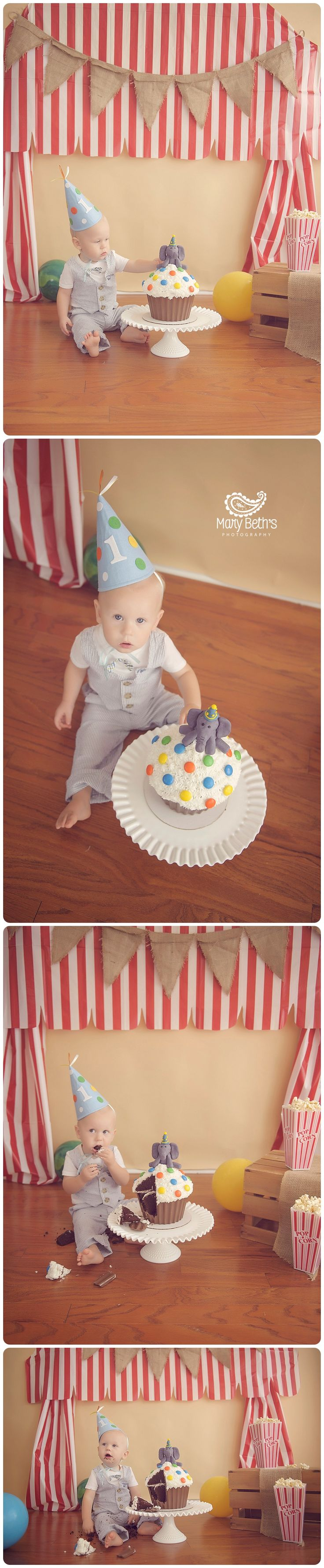 Circus Themed Cake Smash for Mary Beth's Photography | Augusta GA Newborn Photographer, Augusta GA Family Photography