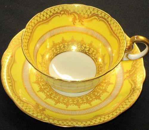 Aynsley Golden Etch Gold Yellow Wide Footed Tea Cup and Saucer 200