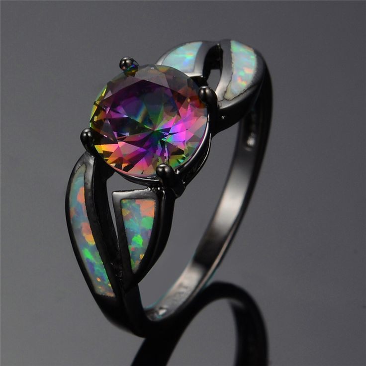 Charming White Fire Opal Ring Colorful Sappjire Men Women Easter Jewelry Black Gold Filled Engagement Rings Bijoux Femme RB0276-in Rings from Jewelry & Accessories on Aliexpress.com | Alibaba Group