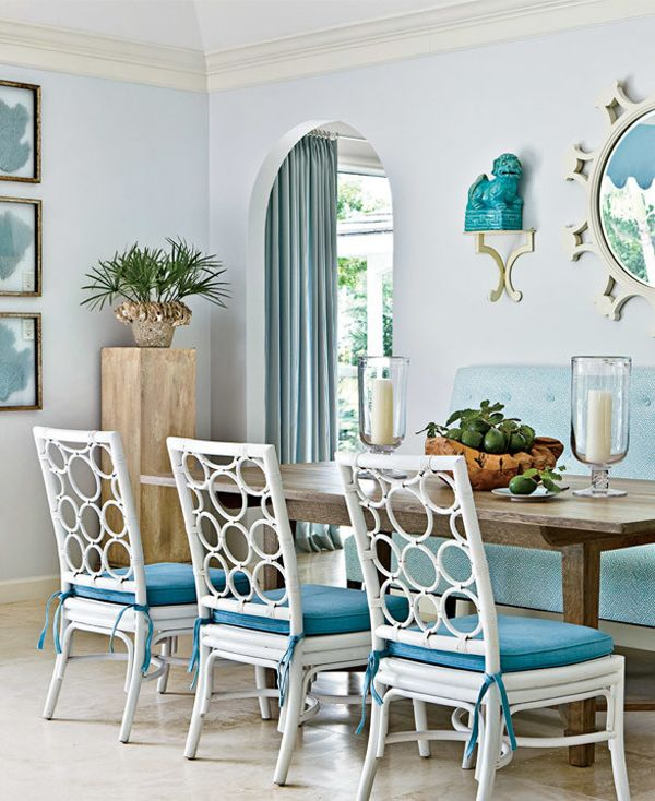 Like The Way The Frame Of The Sunburst Mirror Echoes The Backs Of The  Chairs. Blue Dining RoomsCoastal ...