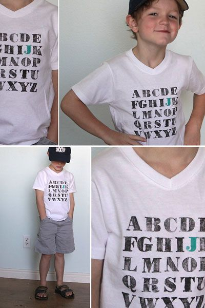 Want an easy back to school outfit? Create this fun painted alphabet shirt for the first day back!