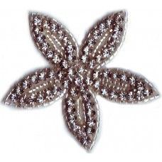 Glass Beaded Bugles Rhinestone Applique