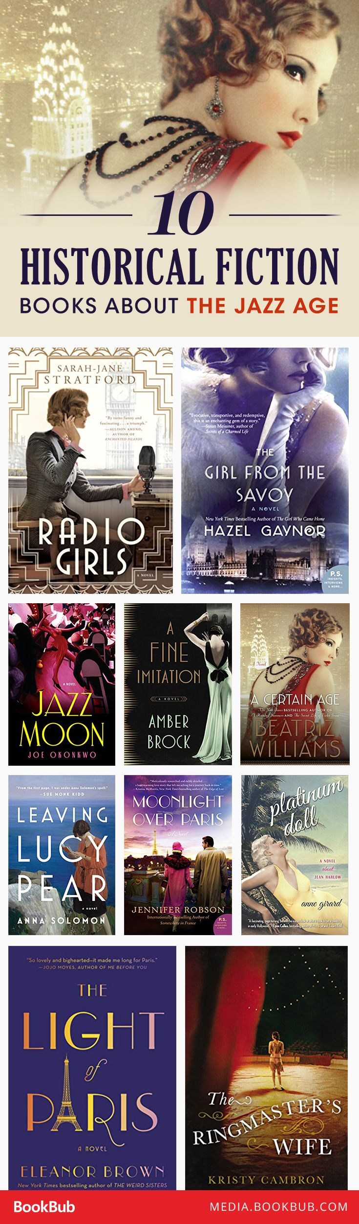10 historical fiction books about the Jazz Age,                                                                                                                                                                                 More