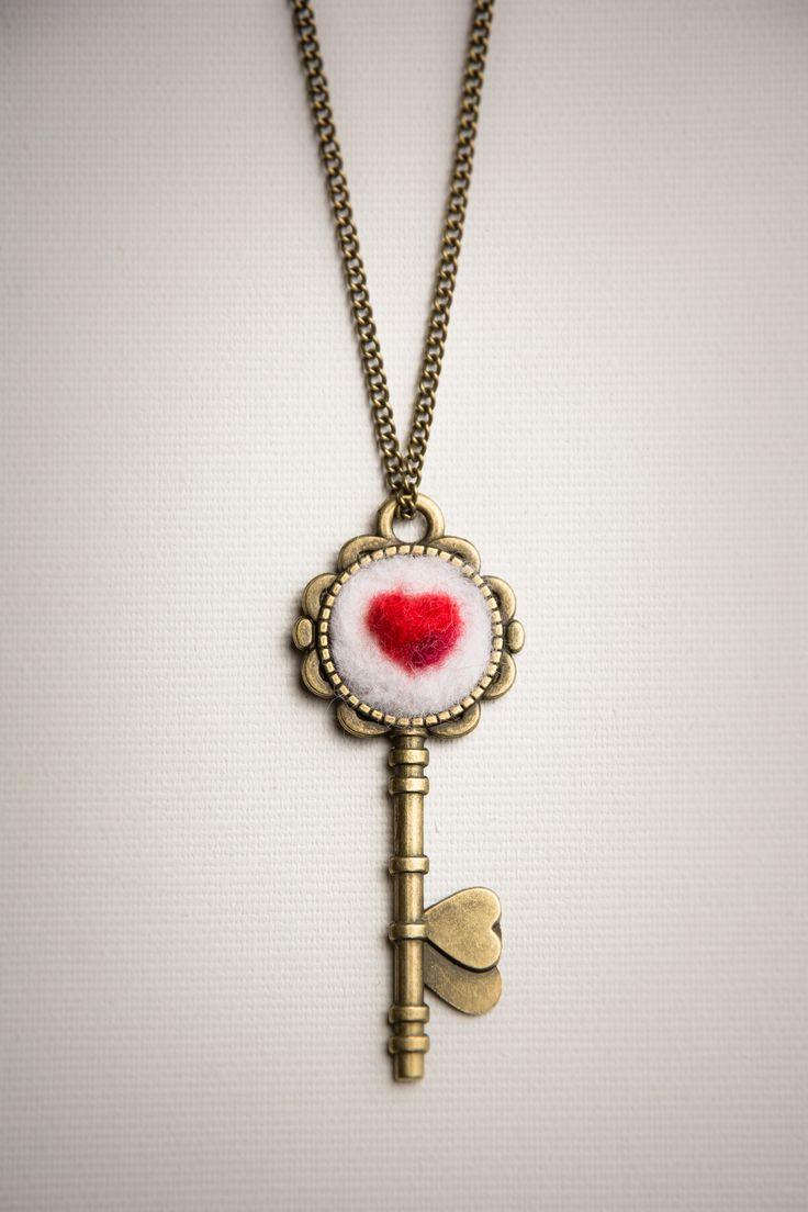 Heart Key necklace #wool #necklace