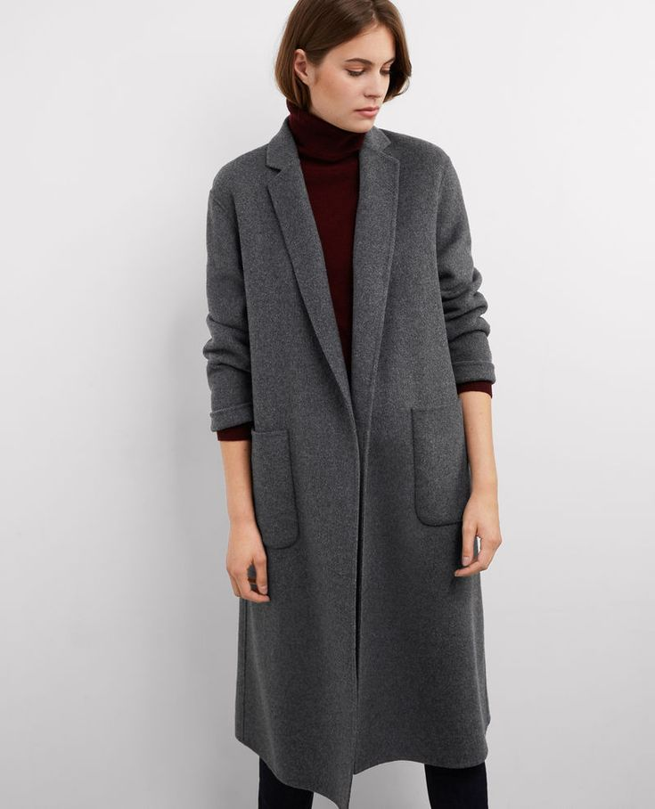 Manteau oversize avec laine. Everyday gray, simple long coat.