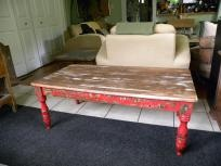 painted and natural wood distressed coffee table