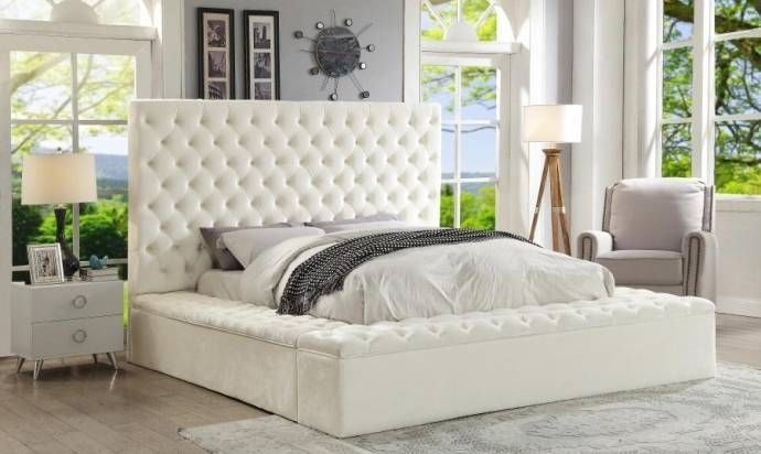 White Velvet Queen Size Storage Bed Traditional Meridian Furniture