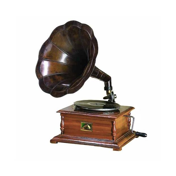 """Remember the songs of the '20s, when """"I Wanna Be Loved By You"""" was being cranked out on those old-fashioned record players? Get back in touch with the allure of scratchy vinyl with this sweet gramophon...  Find the Making Music Gramophone, as seen in the How to Steampunk Your Home Collection at http://dotandbo.com/collections/how-to-steampunk-your-home?utm_source=pinterest&utm_medium=organic&db_sku=92045"""