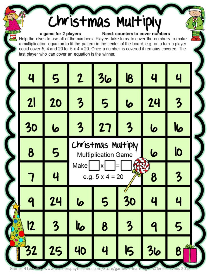 FREEBIE -Christmas Math Freebie by Games 4 Learning contains 4 printable Christmas Math Board Games.