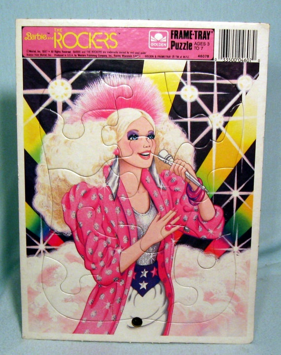Vintage Barbie Rockers Frame Tray Puzzle 1987 Golden