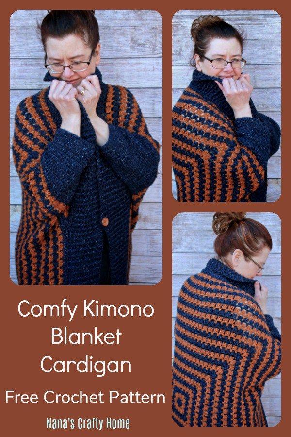 Comfy Kimono Blanket Cardigan With Lion Brand Jeans Yarn Crochet