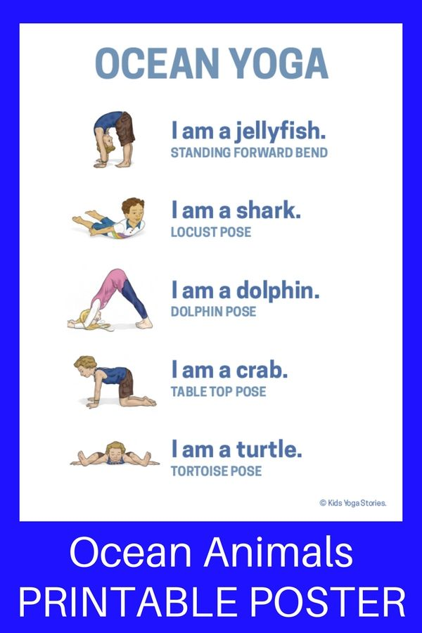 Learn about ocean animals through yoga poses inspired by Commotion in the Ocean by Giles Andreae. Download your Ocean Yoga Poster!