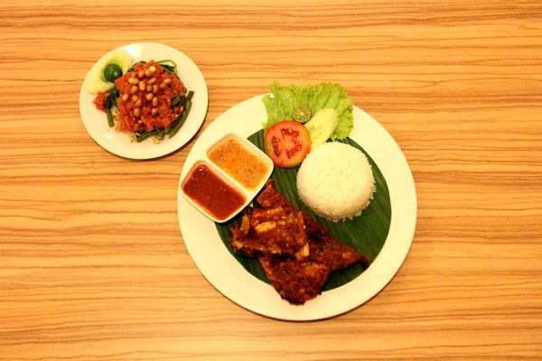 Dinner is served! Hot & Spicy Chicken.  Available at Ayam Taliwang – Eatery Foodcourt