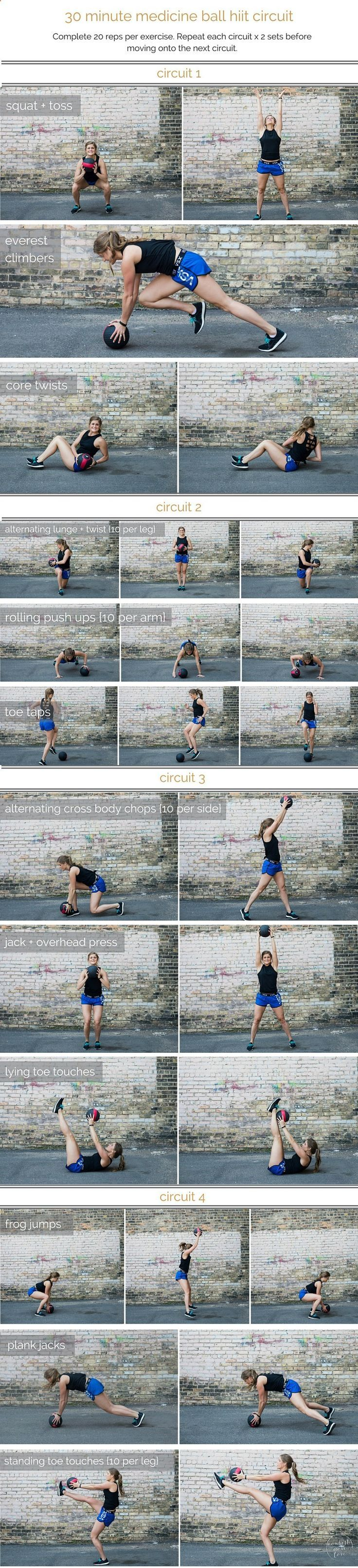 medicine ball hiit circuit workout | combine cardio, strength and stability in this medicine ball hiit circuit; a total body workout that you can do in 30 minutes or less. | www.nourishmovelo...