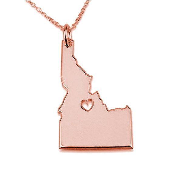 42 best state necklaces images on pinterest state necklace id state necklace rose gold idaho state necklace state shaped necklacepersonalized idaho aloadofball Images