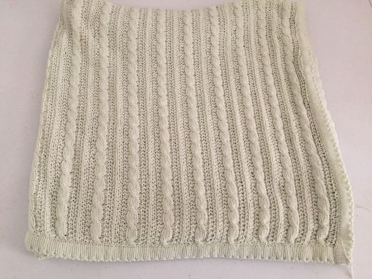 Amy Coe Light Green Cable Knit Baby Blanket Chenille