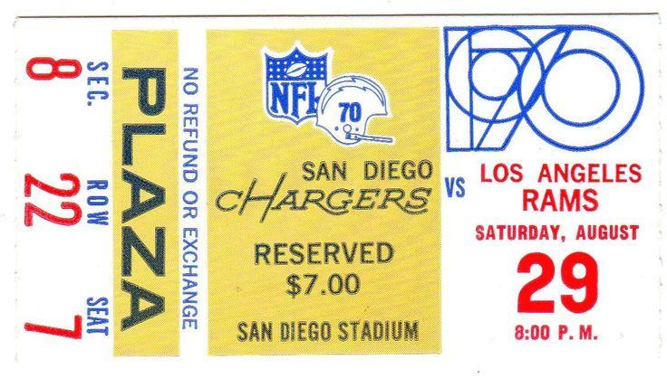 1970 Inaugural NFL Season La Rams San Diego Chargers Ticket Stub | eBay