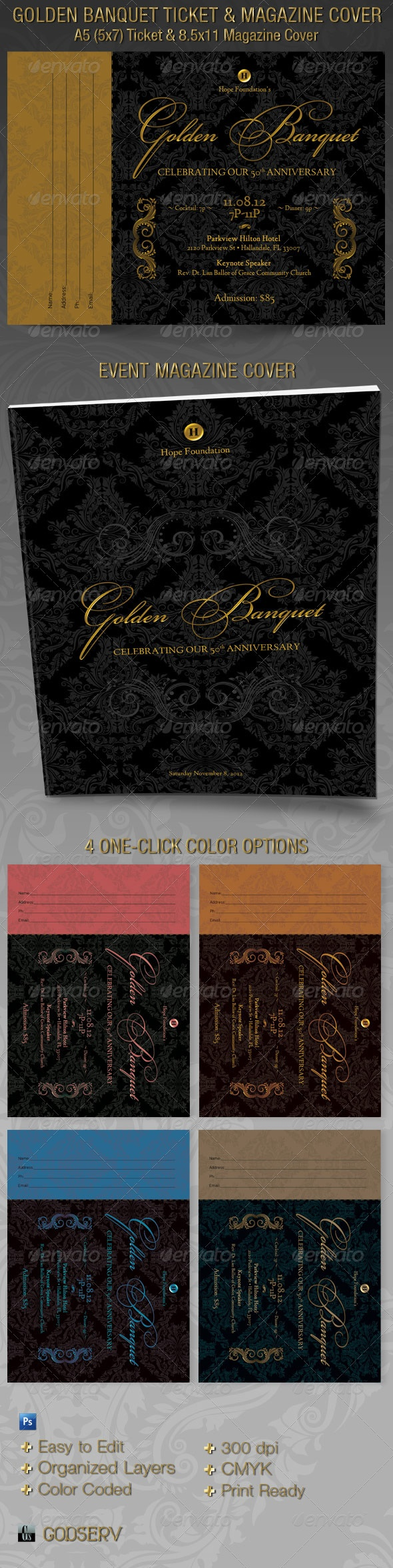 Golden Banquet Ticket and Magazine Cover Template - $6.00