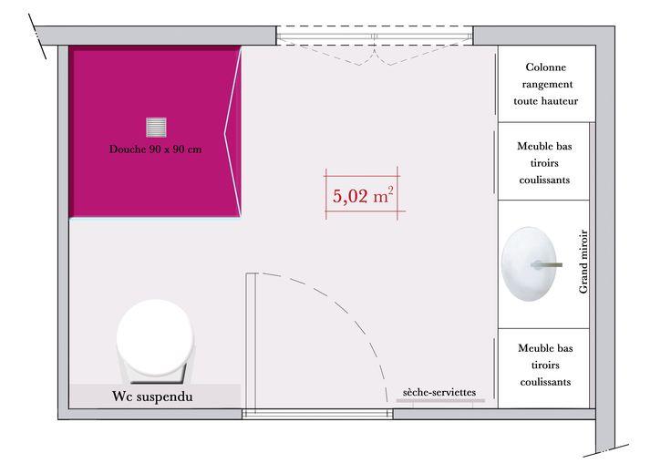 69 les meilleures images concernant plans am nagement salle de bains sur pinterest toilettes for Petite salle de bain architecte