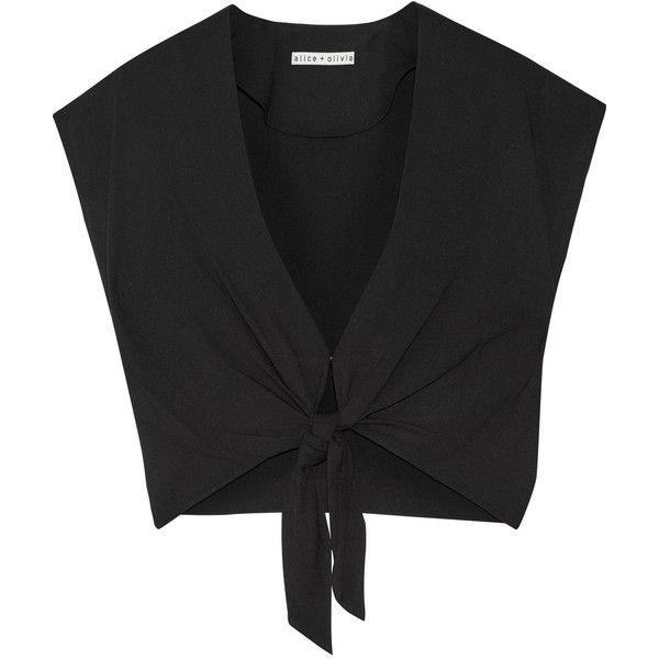 Alice + Olivia Jenara cropped crepe top found on Polyvore featuring tops, crop top, shirts, tank tops, black, tie crop top, high waisted shirts, relaxed fit shirt, knot front top and crop shirt