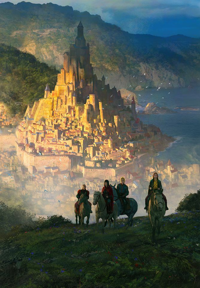 Aerowyn the capital city of The Kingdom of Griffony The king lives there and his army is there too Fantasy art landscapes Fantasy concept art Fantasy city