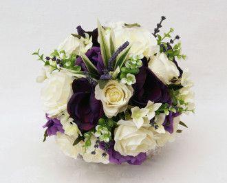 Brides Handtied Posy - Cream and Purple Anemone