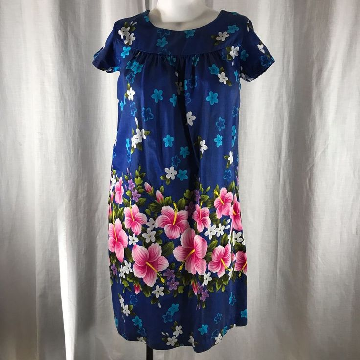 Vtg 60s Ui Maikai Hawaiian Muumuu House Dress Sz 14 Blue Aloha Hibiscus Plumeria #UiMaikai #Hawaiian #Everyday