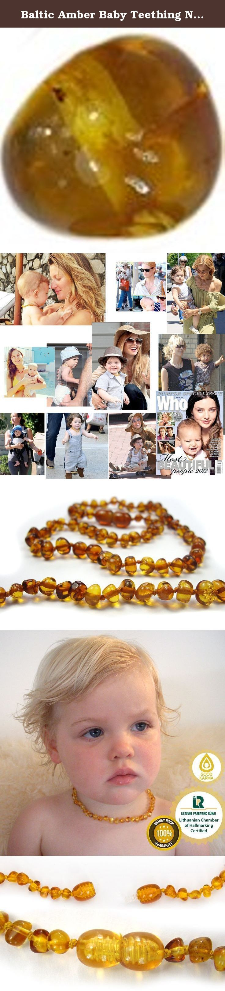 Baltic Amber Baby Teething Necklace - STOCK CLEARANCE - Honey 12.5 Inch Approx. We have The Secret to curing teething pain for babies. Does your baby cry with pain while teething. Do they suffer with a fever, red cheeks and lots of dribble? Your Baby can wear a Baltic Amber Teething Necklace to ease their pain while getting baby teeth. Baltic Amber is effective due to it's its high content of succinic acid. Succinic acid is a natural pain reliever, anti-inflammatory, and central nervous...