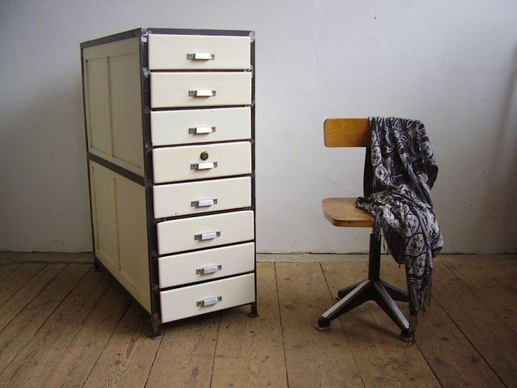 Old iron frame cabinet of a cartographer (artKRAFT Furniture&Design)