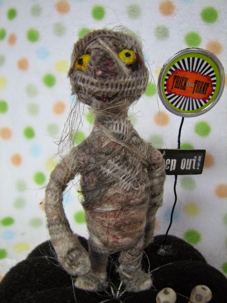 http://trickortreatstudio.blogspot.ca/ Sweet Halloween Mummy pin cushion now on the Trick or treat studio tour
