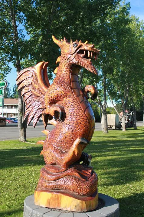 Chainsaw Carved Dragon. What a fun project! Great detail on this piece.