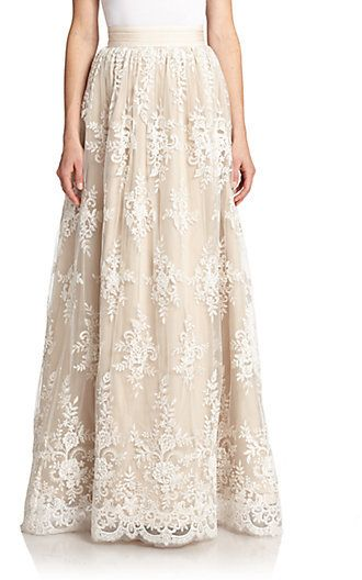Alice + Olivia Carter Lace-Overlay Maxi Skirt