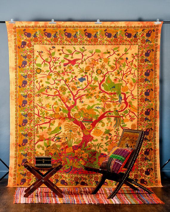 Tree Of Life Wall Art, Indian Tapestry, Bohemian Tapestry, Hippie Wall Hanging, Picnic Blanket, Indian Bed Cover Or Bedspread on Etsy, $15.99