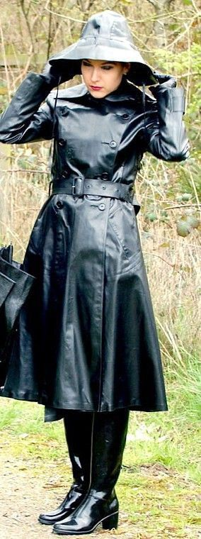 Black Rubber Raincoat and boots