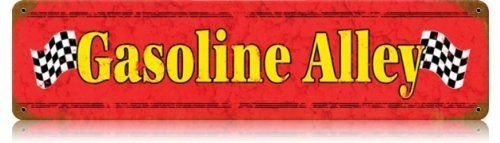Gasoline Alley Automotive Vintage Metal Sign - Garage Art Signs by Garage Art. $18.95. High Resolution Color Image. Quality Heavy Gauge Metal Sign. Dimension: 20 x 5. Vintage Sign. Made in the USA. This Gasoline Alley vintage metal sign measures 20 inches by 5 inches and weighs in at 1 lb(s). This vintage metal sign is hand made in the USA using heavy gauge american steel and a process known as sublimation, where the image is baked into a powder coa
