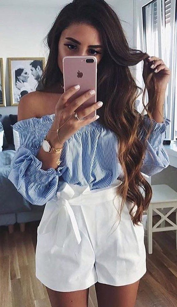 #winter #outfits blue and white off-shoulder top and white short shorts
