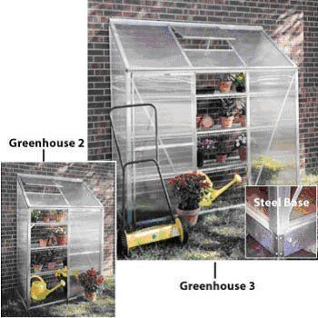 """Mini Greenhouse Model 3 Without Base by Juliana Greenhouses. $490.00. Color: Silver/Clear. Size: 6'5""""h x 6'3""""w x 2'2""""d. Juliana Mini 3 Greenhouse Built To Last These small, lean-to greenhouses offer the same features that the larger greenhouses do. This is a great product for people who have limited garden space or for customer that just wants to grow a few plants. The Mini's are designed to mount to an existing wall, garage or shed.4 mm twin wall polycarbonate panels,..."""
