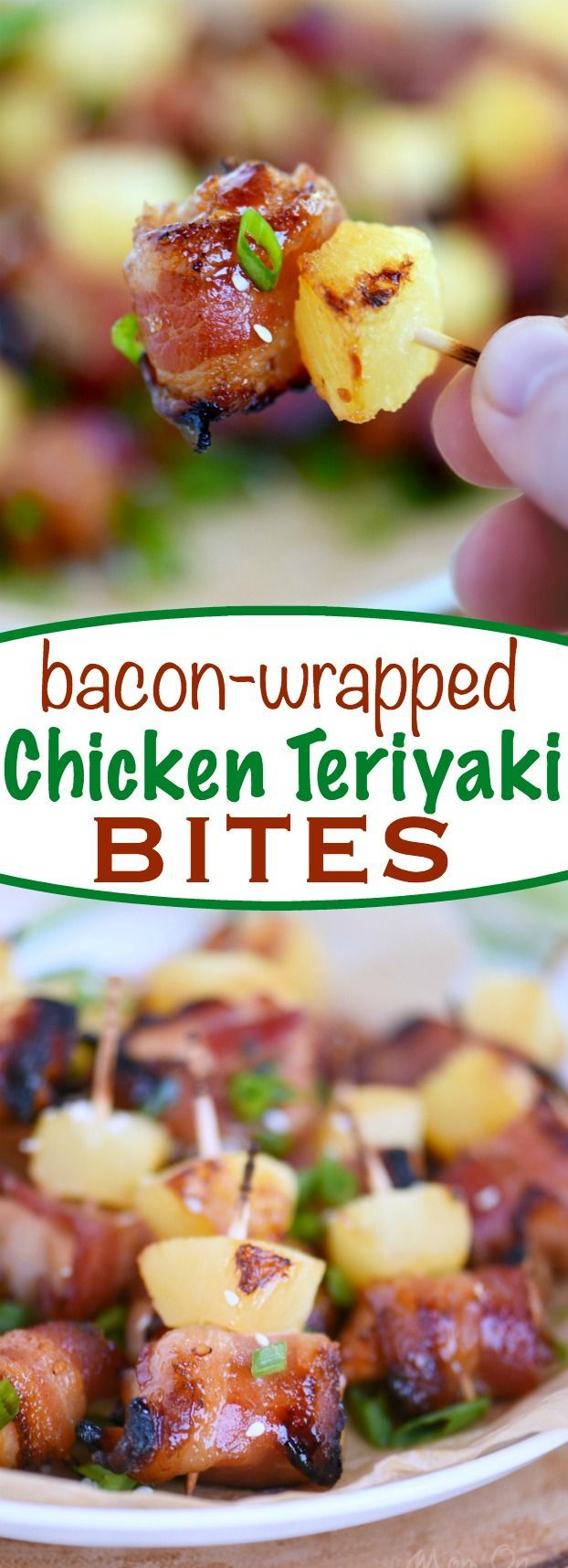 These Bacon Wrapped Chicken Teriyaki Bites are sure to be a huge hit on game day! Sweet and savory and packed full of flavor! Score!