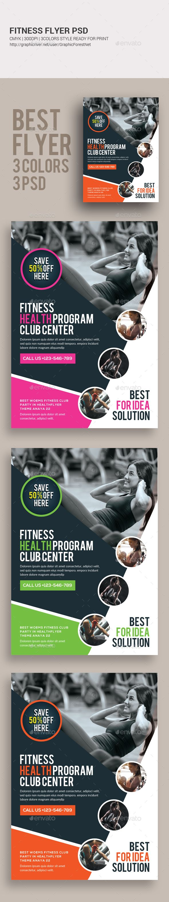 Fitness Flyer  — PSD Template #gym flyer #aerobics • Download ➝ https://graphicriver.net/item/fitness-flyer/18262174?ref=pxcr