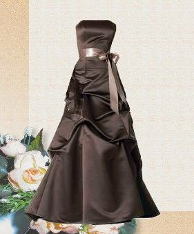 Smooth brown satin for your brides maid dresses, what a lovely way to glide down the isle (even better if there is more chocolate to come)