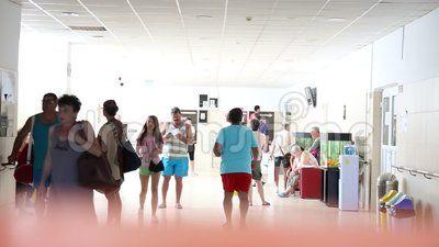 Sanatorium Techirghiol - interior corridor crossed by people.