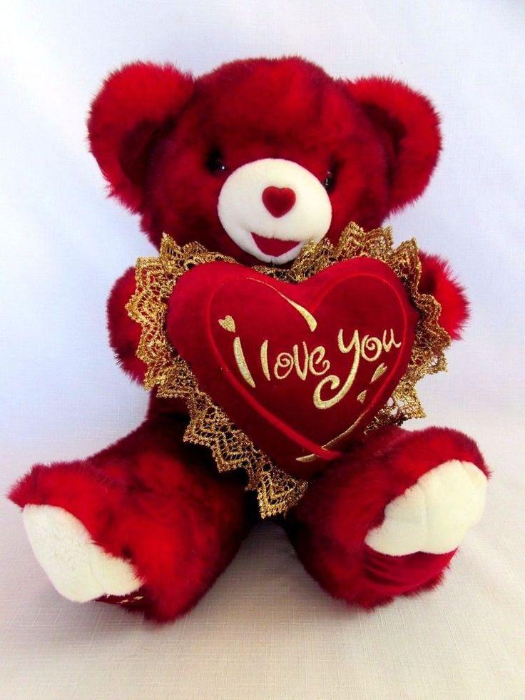 Valentine Teddy Bear Red Plush Stuffed Animal Red Heart I Love You Dan Dee  22in