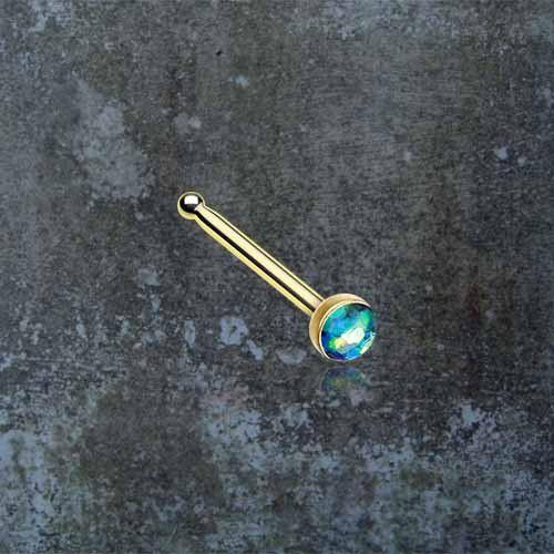 Black Opal Gold Nose Bone Gold Nose Stud Nose Ring
